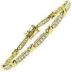 """18kt Over Sterling Silver """"X"""" Design, CZ Line Bracelet LEAH HANNA. $19.99"""