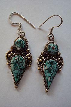 Handmade Teardrop Turquoise Hoop Gemstone Earrings Set  #Handmade #Earring