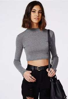 Ribbed Long Sleeve Crop Top Washed Grey - Missguided