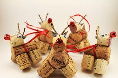 Wine Cork Reindeer Rudolph Ornament Handmade With Red Bell Nose