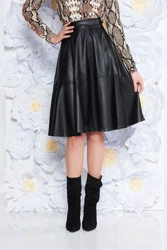 StarShinerS black casual cloche high waisted skirt from ecological leather, women`s skirt, zipper fastening, flaring cut, ecological leather