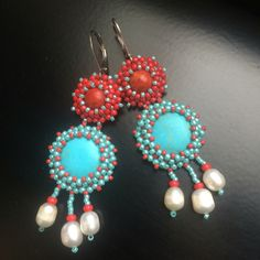 BW51 Beaded summer earrings with coral, tyrkenite, pearls. Long but still relatively light :-)