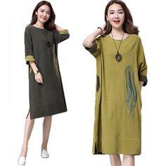 Linen Dress Women Winter Cotton Maxi Dresses Loose Casual Vestidos Plus Size Women Clothing Long Ethnic Dress Long Sleeve Robes