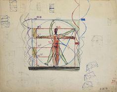 1945, Le Corbusier: Le Modulor, not located. Fondation Le Corbusier - Projects - Le Modulor