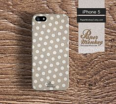 iPhone 5 case, iPhone 4 case, Decoupage case for iPhone : Light brown polka dots.