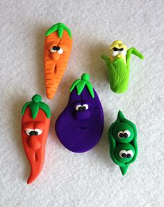 Set of Cute Vegetable Fridge Magnets £10.00