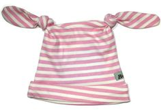 Vanilla/Pink stripe hat from Bubele