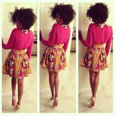 Ankara high-waist skirt