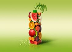 Green Day on Behance Web Design, Food Design, Graphic Design, Fruit Juice Image, Weird Fruit, Juice Packaging, Fruit Photography, Wild Blueberries, Beautiful Posters
