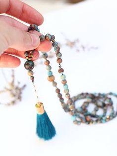 Boho Turquoise Necklace Jasper Birthstone Long Gemstone image 3