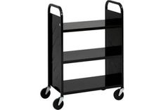"""LibraryQuiet Book Truck  Revolutionary 5"""" swivel casters (2 locking) now feature a shock-absorbing ring that eliminates shimmies, rattles and dampens noise for a noticeably quieter ride. Still as durable as ever.     •Each truck is coated with a scratch resistant powder coat paint.   •10 Year Warranty   •Shelf Clearance: 12-1/2""""   •Dimensions: 44-1/2""""H x 31""""W x 17""""D   •Please specify colour: Beige (-BGE), Black (-BLK), Blue (-BLU) or Red (-RED)"""