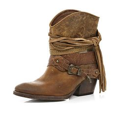 Brown wrapped buckle western boots - ankle boots - shoes / boots - women