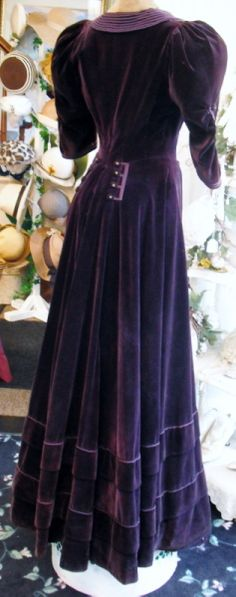 Circa 1915 Edwardian Royal Purple Velvet Nautical Dress. Back
