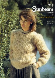 Ladies jumper knitting pattern for Sumatra / mohair Yarn Sunbeam patterns 718. Nice. ? Also use stitch in Mohair cardigan.