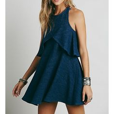 HP Free People Blue Denim-Like Dress Let the back of this sapphire/navy dress from Free People do the talking. With rope straps and cutaway detail you won't be without conversation. No trades or Paypal please.  100% Cotton Scoop neck, sleeveless, overlay top Double rope straps at back, cutout back, unlined Hand wash cold, dry flat. Measurements: Length: 31 in Free People Dresses
