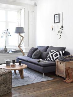 mooie combinatie van natuurlijke kleuren en materialen - canapé ikea