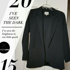Trendy Feminine Blazer Black blazer with tiny, light lavender designs throughout.  Double breasted, fully lined. Pockets on both sides. 2 buttons at wrist. Very light and flowy. Soft! Can dress it up or down.   75% Polyester, 22% Rayon, 3% Spandex.  Lining is 100%. Size Small Petite. Make an offer! I Love H81 Jackets & Coats Blazers