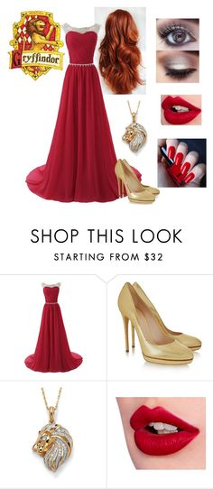 """""""Gryffindor yule ball<3 :)"""" by molly-wendelius ❤ liked on Polyvore featuring INDIE HAIR, Casadei, Palm Beach Jewelry, Charlotte Tilbury, H&M, women's clothing, women, female, woman and misses"""