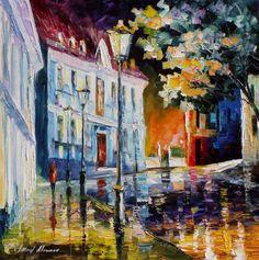 Impressionist Old Street Palette Knife Rain by AfremovArtStudio