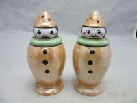 Pair of Made in Japan lustreware ceramic CLOWN salt & pepper shakers