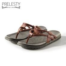 164e2bc16b5455 Prelesty Men s Summer Genuine Leather Non-slip Flip Flops