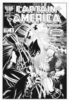 Arthur Adams recreates Captain America Annual #8's cover by Mike Zeck (6/2013)... Cap vs. Wolverine