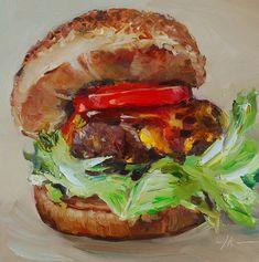 """Olieverf """"Hamburger en tomaat"""" maat 15x15 cm op Ampersand board te koop email mij bij interesse en voor een grotere foto"""