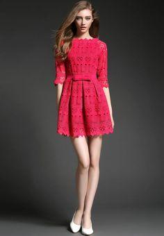 Doresuwe.com SUPPLIES 2015春新しい欧米ファッション エレガント蝶中空刺繍ワンピース デートワンピース (4)