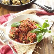 "Eggplant ""Meatballs"" with Eggplant, Olive Oil, Onion, Garlic Cloves, Ground Flax Seeds, Chopped Parsley, Nutritional Yeast Flakes, Panko, Salt, Marinara Sauce."