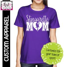 CUSTOM APPAREL: Custom Ladies Cut Personalized Drill Team Mom T-Shirt