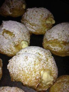 Cream puffs For cream filling: I use cream cheese (softened), instant vanilla pudding (large box) 1 c. (recipe for cream puffs french pastries) 13 Desserts, Dessert Recipes, Plated Desserts, Gourmet Desserts, Greek Desserts, Cake Recipes, Donut Recipes, Cooking Recipes, Cooking Ideas