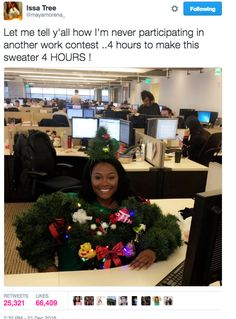 Ugly Christmas sweater contest - She was robbed; only second place?! What the hell won then?!?