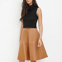 """Faux Leather Camel Midi Skirt Brand New, Never Worn   full length 27"""", waist 27"""" Forever 21 Skirts Midi"""