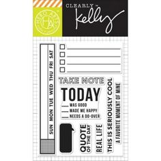 Hero Arts - Clearly Kelly - Clear Stamps -Take Note