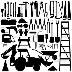 Construction Tool Silhouette Vector — Vector EPS #carpenter #silhouette • Available here → https://graphicriver.net/item/construction-tool-silhouette-vector/127103?ref=pxcr