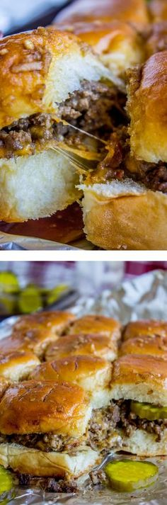 Easy Cheesy Cheeseburger Sliders from The Food Charlatan. These Cheeseburger Sliders are what dreams are made of! Soft Hawaiian rolls stuffed with extra cheesy beef, and a butter and mustard glaze to go on top. They are so easy and come together in just a few minutes. Perfect appetizer for your Halloween party! #appetizer #halloween #slider