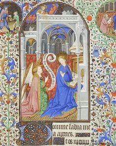 Zvěstování ~ Annunciation; Kniha hodinek, 1430-1435, Francie, Paříž; The Morgan Library & Museum