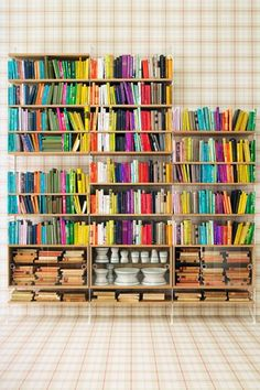 i'm going to start buying books solely based on the color of their spines!!! lol Bookshelf Porn: 6 Stunning Ways To Organize Your Tomes #Refinery29