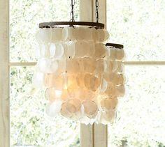 Capiz Chandelier - Small   Pottery Barn possible bedroom lighting