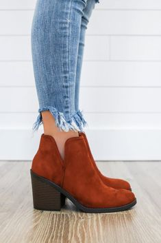 Target-S Faux Suede Ankle Booties - UOIOnline.com