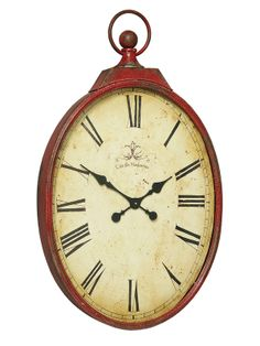 Creative Co-Op Metal Pocket Watch Wall Clock with Red Crackle Finish Unique Ceiling Fans, Unique Mirrors, Farmhouse Clocks, Antique Farmhouse, Modern Kitchen Cabinets, Red Kitchen, Kitchen Art, Red Clock, Decorative Brackets