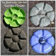 garden art, hypertufa garden flower, concrete garden flower decorative stepping stone