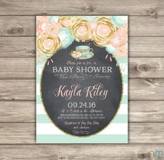 Baby Shower Tea Party Invitation Pink Mint and Gold by cardmint