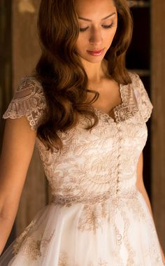 Elizabeth by Martin McCrea   Vintage inspired French Alençon lace fairy tale princess wedding dress with cap sleeves.