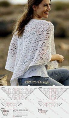 Треугольная шаль «Воздушное блаженство» Crochet Shawl, Knit Crochet, Lace Knitting Stitches, Summer Knitting, Knitted Gloves, Knitting Accessories, Drops Design, Crochet Fashion, Knit Patterns