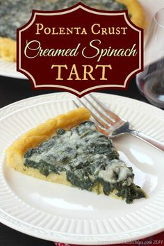 Polenta Crust Creamed Spinach Tart - an easy and elegant vegetable side dish or cut into mini slices for a party appetizer | cupcakesandkalechips.com | gluten free, vegetarian