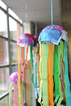 Streamers and glue? Why not make some fun and colorful jellyfish to display!