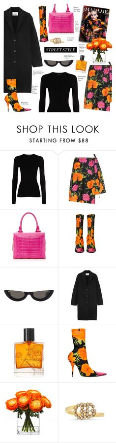 """My Street Style"" by voguefashion101 ❤ liked on Polyvore featuring The Row, Balenciaga, Nancy Gonzalez, PAWAKA, Acne Studios, Miller Harris, Lux-Art Silks and Gucci"