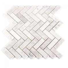 Ensuite and Main Bath Feature Wall Carrara Marble White Herringbone
