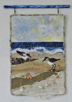 Eileen's fiber art quilts from the Crystal Coast of North Carolina. Ocean Quilt, Beach Quilt, Fish Quilt, Map Quilt, Quilt Top, Fiber Art Quilts, Landscape Art Quilts, Fabric Postcards, Flower Quilts